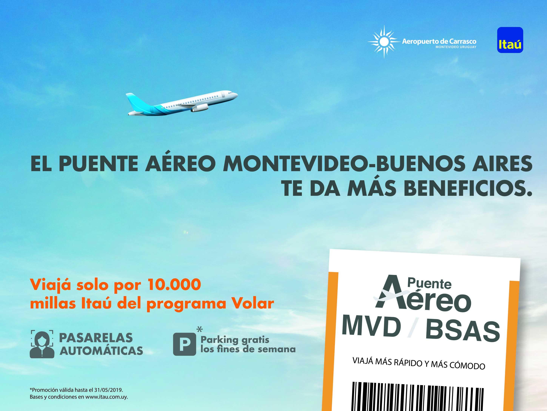 Aeropuerto de Carrasco e Itaú: beneficios en  puente aéreo MVD – Buenos Aires